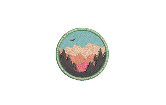 Mountains Patch Embroidery Design - Hiking Embroidery Design -  Machine Embroidery File design 3 x 3 inch hoop
