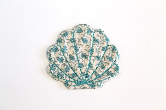 Beach house Seashell Coaster Mug Rug ITH Machine Embroidery File design 5x7 inch hoop