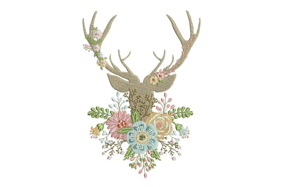 Boho Deer Antlers With Flowers Bohemian Machine Embroidery File design 7x12inch hoop - instant download