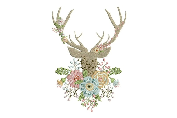 Boho Deer Antlers With Flowers Bohemian Machine Embroidery File design instant download 6x10inch hoop