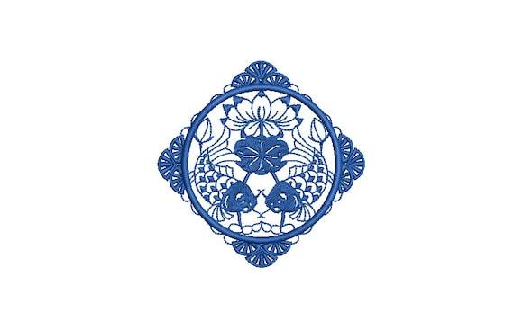 Chinoiserie Chic - Motif - Machine Embroidery File design - 4x4 hoop - Koi Fish Design