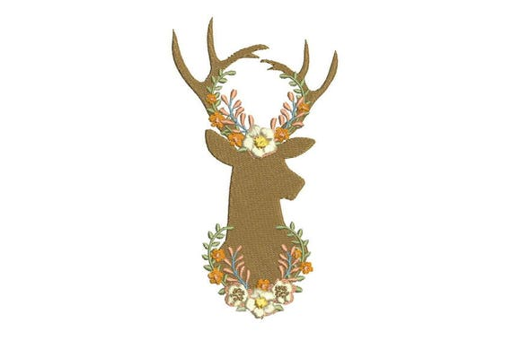 Boho Whimsical Deer Antlers With Peach Flowers Bohemian Machine Embroidery File design 5x7 hoop