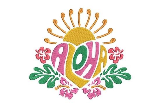 Aloha Sun Design Summer Embroidery - Hawaii -  Machine Embroidery File design 5x7 inch hoop