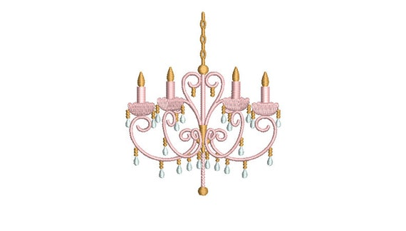 Chinoiserie Chic - Pastel Chandelier Machine Embroidery File design  - 4x4 inch hoop