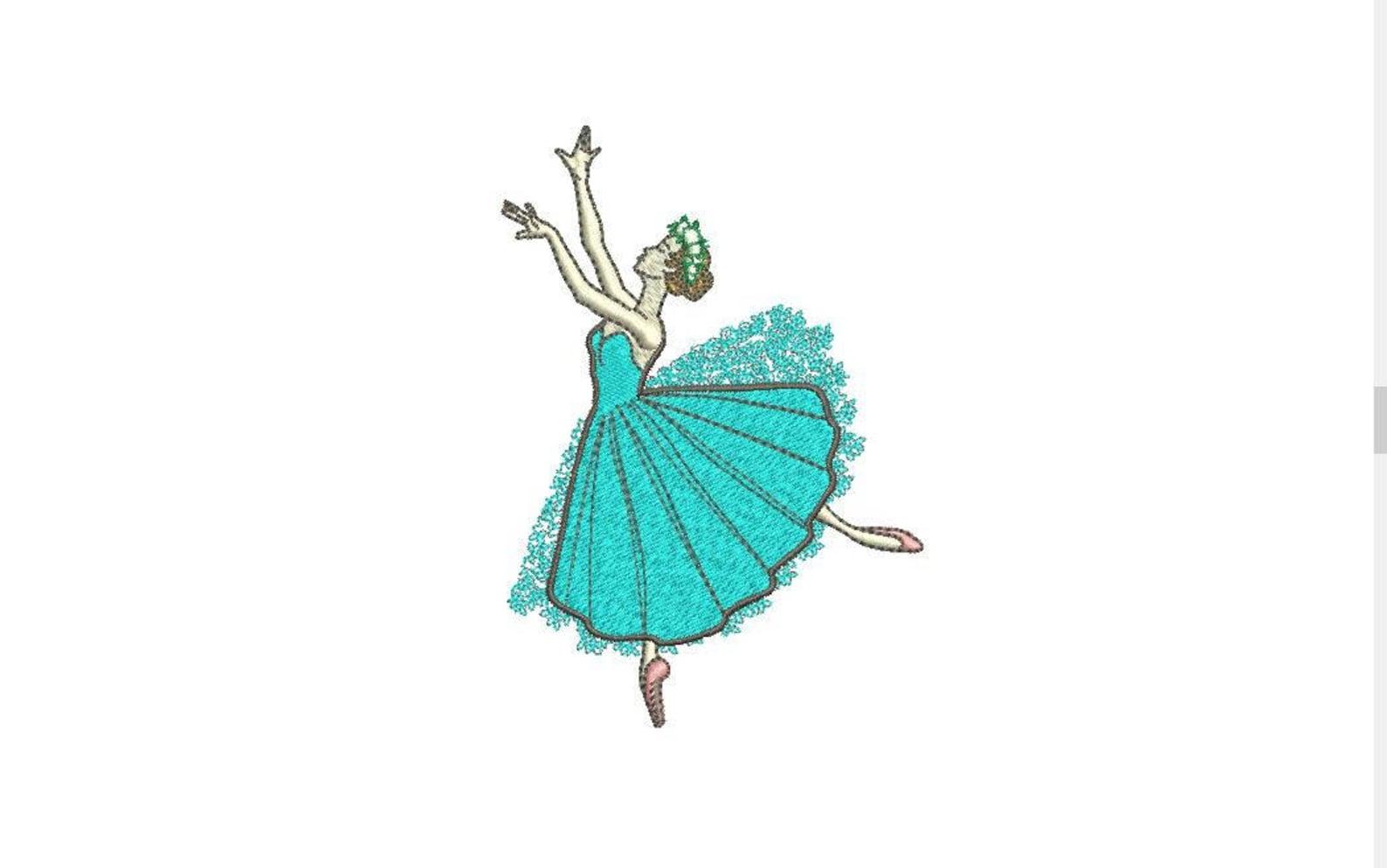 ballerina ballet dancer machine embroidery file design 4x4 hoop