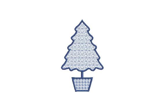 Greek Key Xmas Tree - Machine Embroidery File design - 4 x 4 inch hoop - Chinoiserie Christmas Tree Embroidery