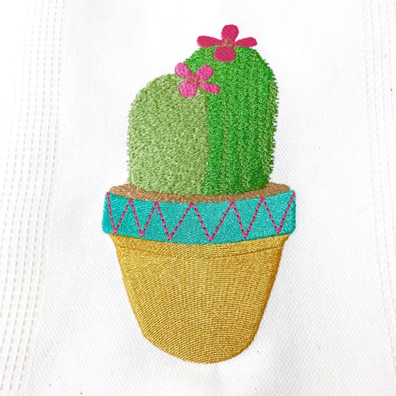 Succulent Cactus 2 Machine Embroidery File design 13x18cm hoop - Makes a great Patch