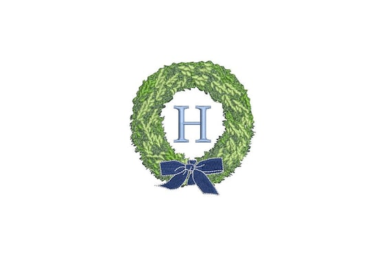 Chinoiserie Boxwood Wreath Embroidery - Hamptons Design - Machine Embroidery File design - 4 x 4 inch hoop - Instant Download