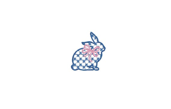 Little Bow Bunny Embroidery - Machine Embroidery File design 4 x 4 inch hoop - 2 inch bunny