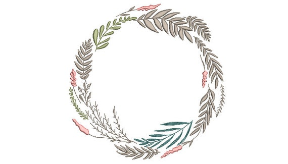 Wildflower Wreath Embroidery - Machine Embroidery File - design 8x8 inch hoop - Monogram frame
