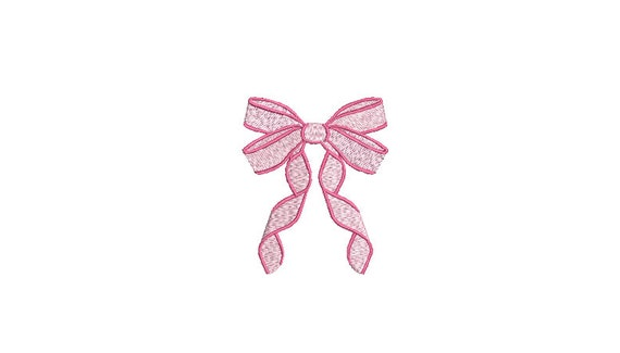 Pink Ribbon Bow Machine Embroidery File design - 3 x 3 inch hoop - Monogram Design - Bow embroidery Design
