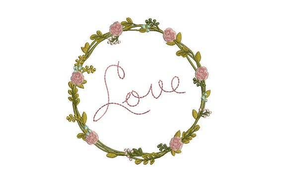 Love Rose Wreath Machine Embroidery File design -  5x7 inch hoop -  Wedding Embroidery Design