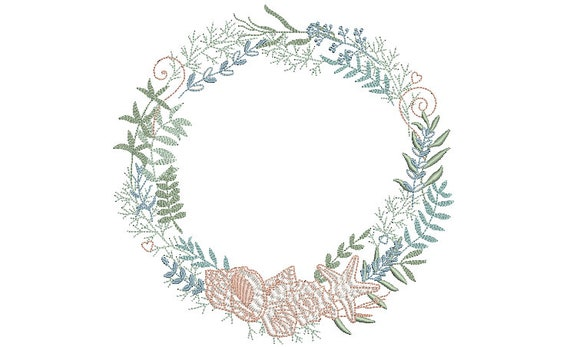 Shell Wreath- Machine Embroidery File design - 8 x 8 inch hoop - seahsell monogram Frame - Instant download