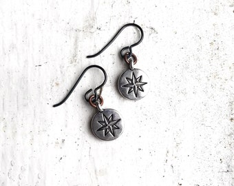 North Star earrings Polaris symbol on silver plated charms and hypoallergenic niobium ear wires Celestial sign of hope, inspiration and love