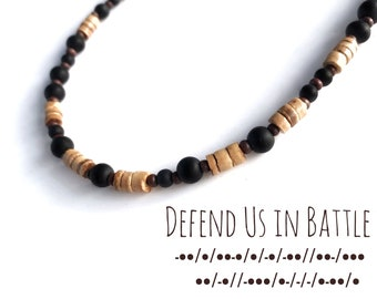 Defend Us in Battle - Morse Code necklace for men with St Michael prayer phrase in wood and glass beads.