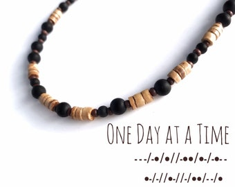 One Day At A Time - Morse Code necklace for men with wood and glass beads, Great gift for those in recovery or a sobriety anniversary