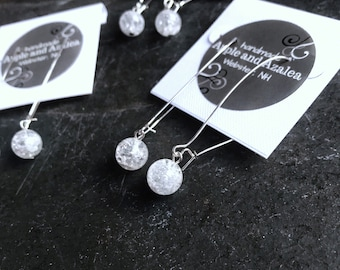 Snowball earrings. Simple Dangle earrings for winter have white crackle glass beads and hypoallergenic ear wires