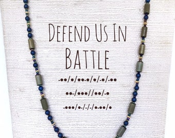 Defend Us In Battle morse code necklace. St Michael necklace with beads spelling out prayer phrase to Catholic saint