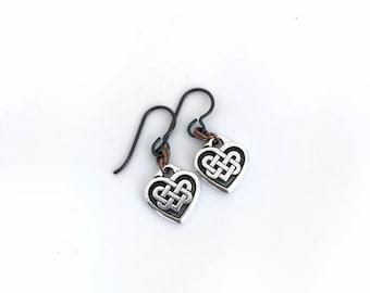 Celtic Knot, Heart Shaped earrings. Irish design earrings with niobium hypoallergenic ear wires