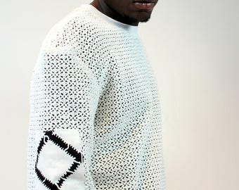 Mens Pullover Open Weave White Top