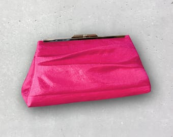 Fuchsia Hot Pink Clutch for Bridesmaid- Firefly Pleated Clutch Available in 32 Colors