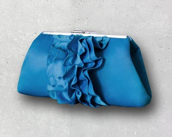 Turquoise Satin Wedding Clutch with Metal Clasp- Ruffle Bridal Clutch with Personalization option