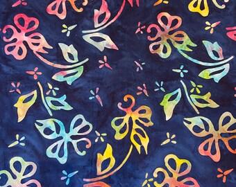 Blue Floral Tropical Tie Dye Pattern  Indonesian Batik Cotton Fabric by Half Yard