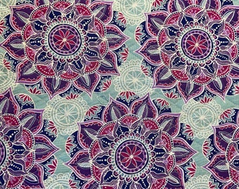 Purple Blue Floral Medallion Pattern Double Faced Pre-Quilted Fabric Cotton by Half Yard