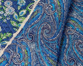 Blue Floral Paisleys Pattern Double Faced Pre-Quilted Fabric Cotton by Half Yard