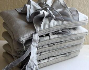 Silver Bridesmaid Clutches - Set of 5 Ruffle Wristlets - Fairy Tale Wedding Idea