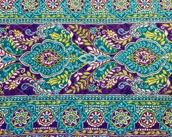 Blue Purple Floral Pattern Double Faced Pre-Quilted Fabric Cotton by Half Yard