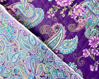 Purple Floral Paisleys Pattern Double Faced Pre-Quilted Fabric Cotton by Half Yard