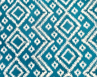 Teal Ikat Print Outdoor Canvas Home Decor Fabric by Half Yard