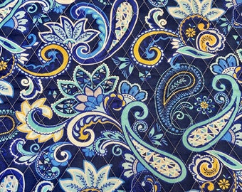 Floral Paisleys Pattern Double Faced Pre-Quilted Fabric Blue Cotton by Half Yard