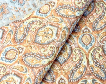 Autumn Floral Paisleys Pattern Double Faced Pre-Quilted Fabric Orange Beige Cotton by Half Yard