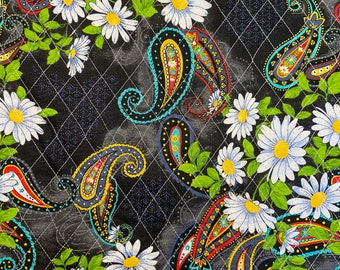 Multicolored Black White Floral Paisleys Pattern Double Faced Pre-Quilted Fabric Cotton by Half Yard