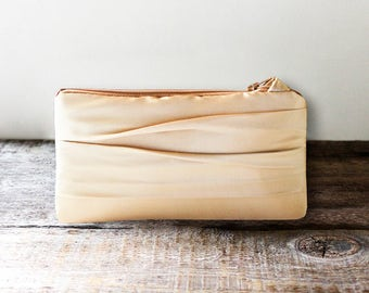 Gold Satin Bridesmaid Clutch, Simple Wedding Clutch- Personalization Option Available