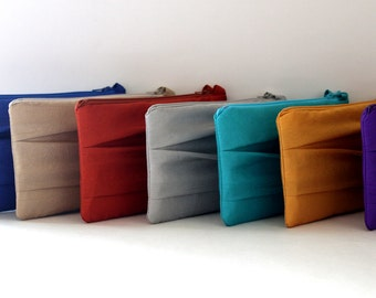 Bulk Bridesmaid Pleated Clutches- SET OF 9 Various Colors Available