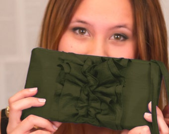 Ruffle Olive Green Bridal Clutch - Military Wedding Idea
