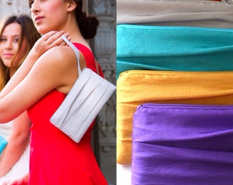 """Pleated Bridesmaid Clutch- Envelope Clutches- Available in up to 32 Colors- Size 4""""x 8"""""""