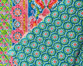 Multicolored Orange Blue Green Floral Pattern Double Faced Pre-Quilted Fabric Cotton by Half Yard