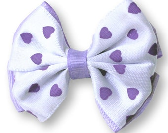 Valentines Day Hair Bow Set of 2. Purple Heart Stacked Bows Hair Clips. Baby Toddler Girl Hair Clippies With NonSlip Grips