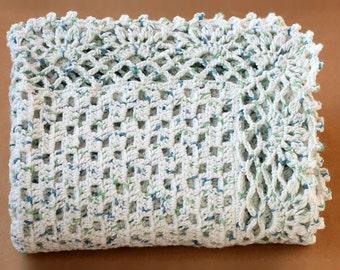 Baby Boy Afghan. Crochet Blanket. Infant Keepsake Blankie. Kids Bedding Nursery Decor. Acrylic Throw. Baby Wrap Shower Gift. Blue and Green