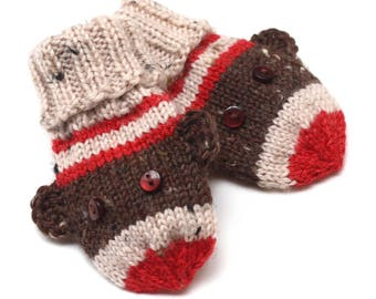 Sock Monkey Baby Mittens. Knit Winter Infant Mittens No Thumbs. Unisex Hand Warmers. Boy or Girl Thumbless Cuffed Mitts. Baby Shower Gift