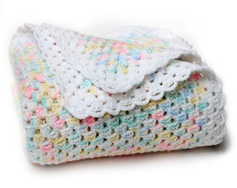 Rainbow Pastel Baby Afghan. Crochet Newborn Keepsake Blanket. Kids Bedding Nursery Decor. Neverending Granny Square Wrap. Baby Shower Gift