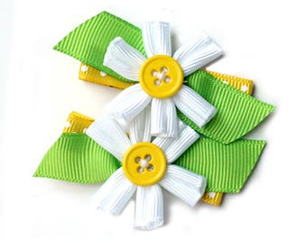 Yellow Polka Dot Hair Clip. Kids Daisy Hair Clip Set of 2. Baby Toddler Girls Ribbon Flower Hair Clippies. Yellow White Green Hair Bows