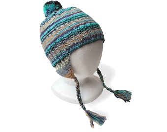 Blue Striped Hand Knit Ear Flap Hat, 2 to 6 Years