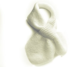 Hand Knit Off-White Winter Neck Scarf, Toddler 2 to 4 Years