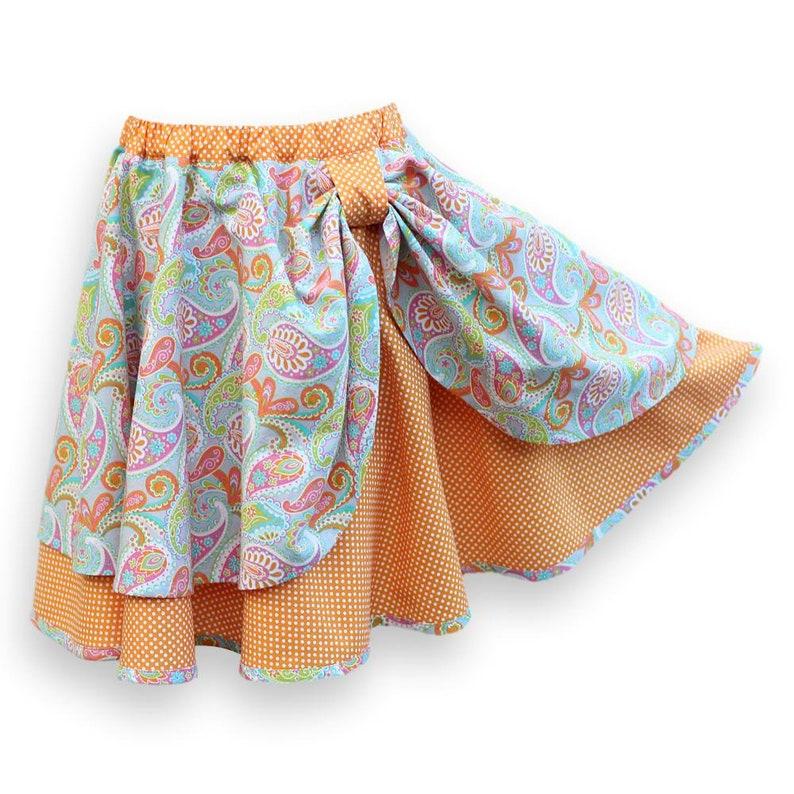 46744705d9 Circle Skirt Girls Paisley. Kid's Layered Pull-On Boho   Etsy