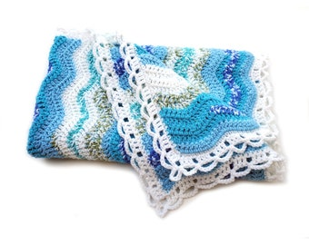 Turquoise and White Ripple Crochet Baby Blanket